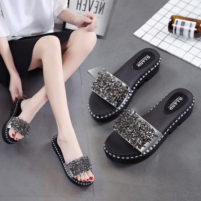 拖鞋女时尚女士一字拖平底花朵沙滩鞋外穿高跟厚底凉拖鞋夏季女鞋
