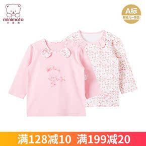 小米米秋冬新品宝宝长袖开肩上衣女宝宝上衣开肩套头