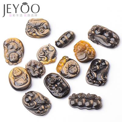 jeyoo/晶优黑金太阳石吊坠 男女款雕刻猫眼项坠 水晶项链饰品