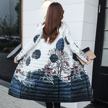 Lightweight Down Dresses Women's Mid-and Long-style 2009 New Anti-season Ladies'Thin-print Korean Knee-Crossing Long-style Coat Tide