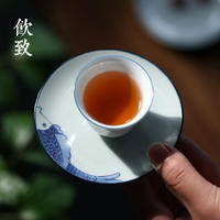 Drinking Jingdezhen hand-painted blue-and-white porcelain cup mat ceramic cup holder Japanese-style tea cup insulation pad tea ceremony spare parts