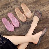 水晶塑胶半拖鞋 时尚 果冻鞋 海边凉拖鞋 女式夏防臭室内韩版 平底镂空