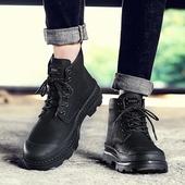 四季新款真皮单鞋工装鞋男休闲时尚马丁靴防滑耐磨保暖加绒雪地靴