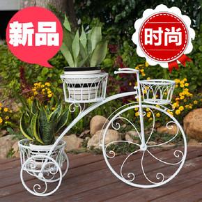 欧式铁艺自行车多层花架三层田园室内客厅阳台落地绿萝置物花盆架