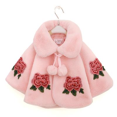 春秋冬季女童披肩礼服外搭外套儿童仿皮草毛衣童装女宝宝毛绒上衣