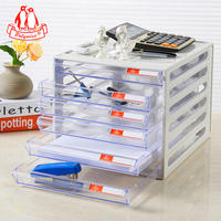 Polywise desktop file cabinet six-layer a4 drawer file cabinet information cabinet transparent office file storage box