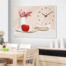 水晶膜单联无框装 饰画静音挂钟配电箱客厅餐厅挂画红苹果花瓶插花