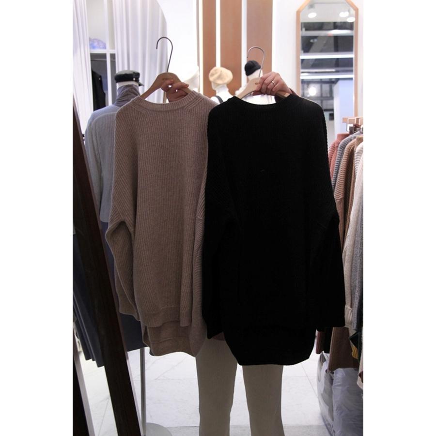 韩国代购新款女装女士长袖中长款圆领简洁针织衫左右色均码