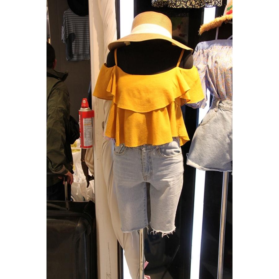 韩国东大门代购2019夏装CELEBRITY 女士短袖露肩简洁百搭衬衫均码