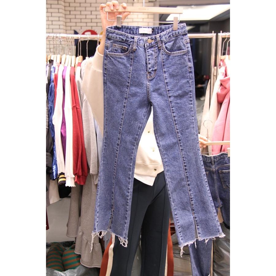 Double J-AP 韩国东大门正品代购女装插袋毛边牛仔裤S/M/L码