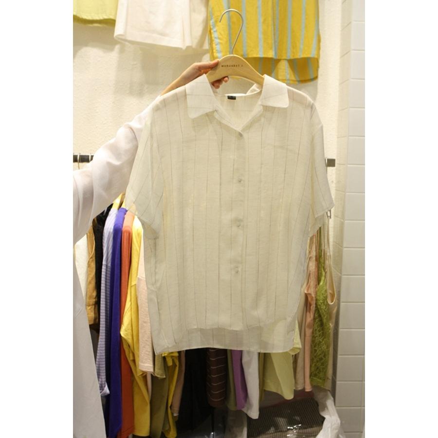 进口韩国东大门正品代购女装2018夏装女士翻领短袖系扣衬衫均码
