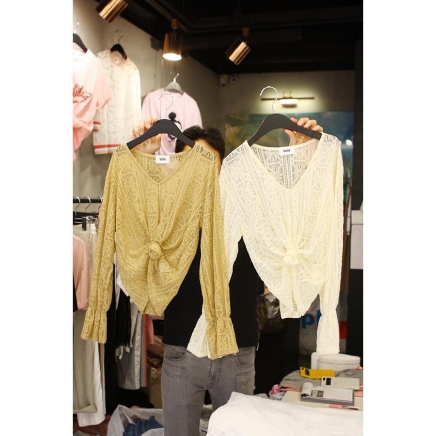 韩国东大门正品代购女装2018春装女士长袖时尚领T恤衫左右色均码