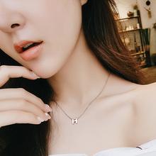 日韩版简约H字母项链女镀18K玫瑰金锁骨链彩金钛钢饰品短链子