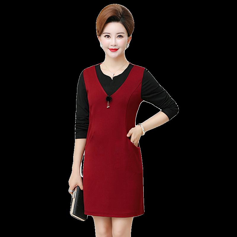 中年妈妈秋装连衣裙高贵40岁50中老年女装2018新款气质显瘦长裙子