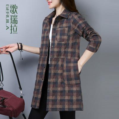 歌瑞拉加厚衬衫女棉秋冬2018新款 宽松显瘦长袖中长款格子衬衣女