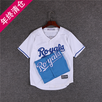 Summer children's clothing embroidery Dodgers team baseball uniform short-sleeved half-sleeved children's street dance show cardigan t-shirt