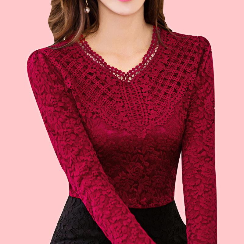 2018冬季新款长袖女装修身蕾丝衫加绒加厚保暖V领打底衫大码上衣