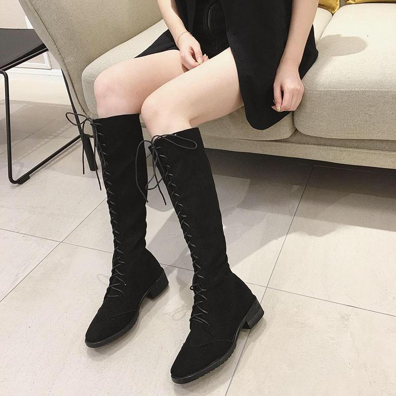 欧洲站洛百丽秋冬新款百搭时尚舒适马丁靴女圆头粗跟高筒靴中跟拉