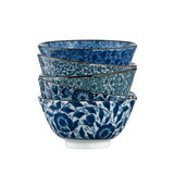 Japanese 5-inch Rice Bowl Household Ceramic Bowl Set Small Bowl Eating Bowl Underglaze Colored Tableware Japanese Takashi Bowl