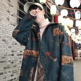 港风个性印花风衣男士2019春秋装新款宽松休闲衣服韩版潮流行外套