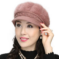 Middle and old aged hat female winter cotton hat knit old hat female grandmother winter warm mother rabbit wool cap