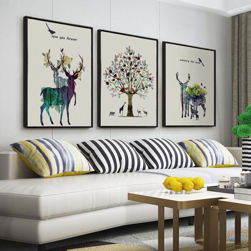 沙发背景壁画 简欧