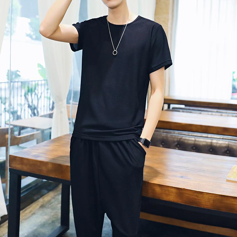 夏季男短袖T恤短裤两件套 休闲套装宽松纯色透气运动装五分哈伦裤
