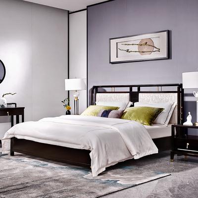 新中式雙人床 現代簡約海棠木1.8米禪意主臥家具輕奢 實木床中排行
