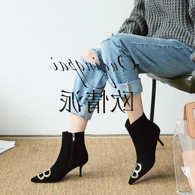 欧美时尚潮流大码潮女高跟真皮丝绒短靴细跟尖头短筒性感女靴裸靴