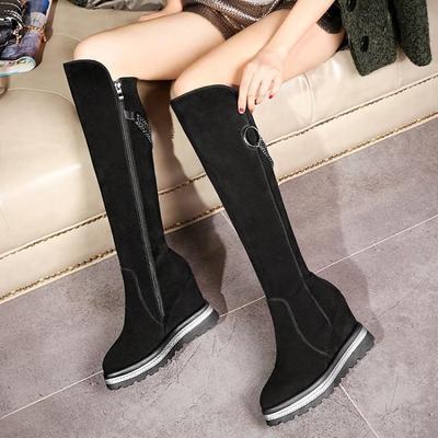 全皮厚底长靴高跟坡跟高筒靴女靴磨砂牛皮靴侧拉链金属链条骑士靴