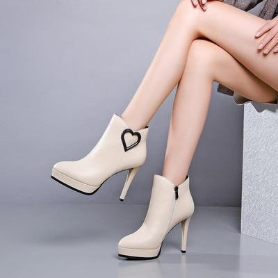 春季春秋时尚性感超高跟细跟防水台真皮女靴马毛牛皮拼色皮靴短靴