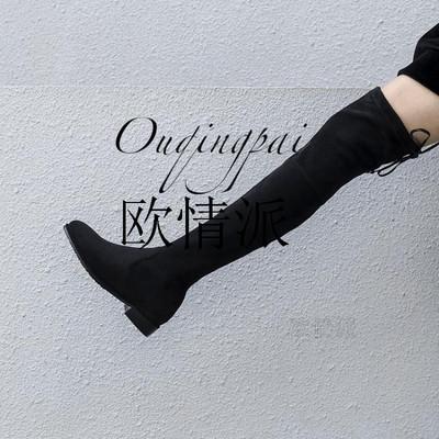 2018秋冬磨砂系带圆头长筒靴平跟高跟粗跟经典过膝瘦腿弹力女靴