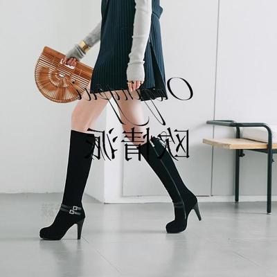 2018新款显瘦修身束腿过膝长靴可粗腿胖妹妹女式长靴子高跟粗高跟