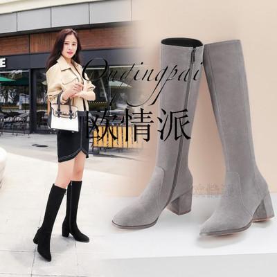 2018春秋款女黑色平底过膝长靴低跟磨砂绒面韩版弹力高筒靴长靴子