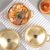韩国拉面锅黄铝锅煮方便面锅小黄锅拉面锅双耳网红泡面小食堂专锅