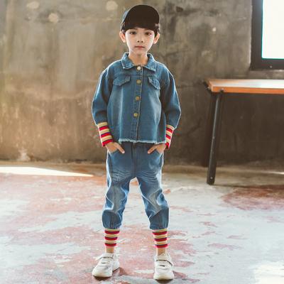 男童秋装套装2018新款帅气秋季儿童装6洋气7男孩8牛仔两件套9岁潮