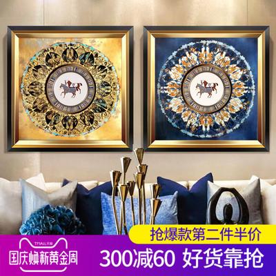 别墅沙发背景墙装饰画欧式美式样板间房餐厅立体壁画客厅玄关挂画