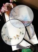 买4送1大号24厘米真丝团扇半透明圆形女式中国风古典汉服舞蹈扇子