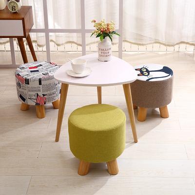 小凳子时尚圆凳创意板凳家用椅子沙发凳布艺茶几凳矮凳实木换鞋凳