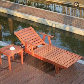 户外家具全实木休闲床简约庭院花园泳池躺椅花梨木家具厂家热销