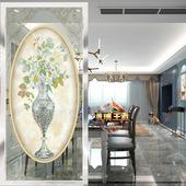 艺术玻璃隔断欧式 磨砂 雕花雕刻钢化 玄关背景墙 双面透光 花瓶