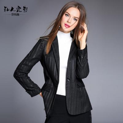 秋季黑色条纹西装外套女中长款时尚名媛女士西服收腰薄款上衣春秋