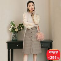 2017秋冬季新款时尚上衣配裙子两件套潮冬装小香风港味复古套装女