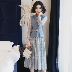 长袖高腰雪纺裙