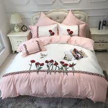 高档纯棉床上用品贴布绣花四件套 粉白色田园风全棉双人被套1.8m