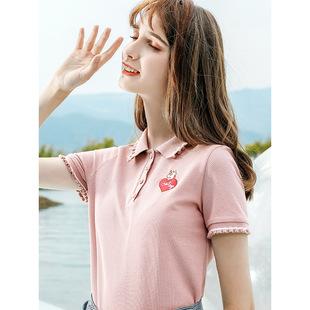 2019夏新款时尚韩版女装翻领纯色Polo衫女清新甜美百搭针织衫短袖