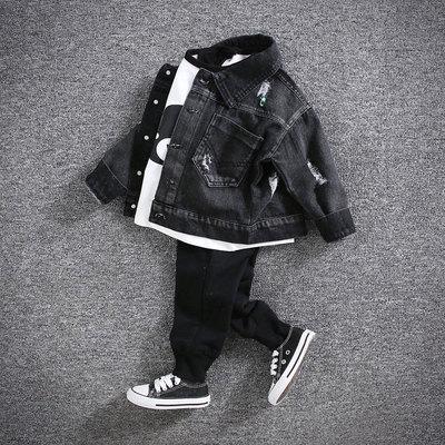 童装男童牛仔外套儿童宝宝韩版休闲破洞牛仔上衣男童秋装上衣开衫