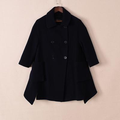 艾系列品牌折扣商场专柜撤柜剪标女装2017秋冬新款短款羊绒大衣
