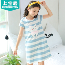 On the treasure wheat Summer Girls nightdress short-sleeved cotton thin childrens pajamas girls home service pajamas girls nightdress
