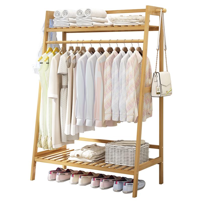 简易衣架落地衣帽架卧室置物架实木挂衣架衣服的架子家用落地式